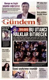 25 Nisan 2015 Tarihli �zg�r G�ndem Gazetesi