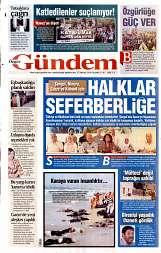 27 Ağustos 2014 Tarihli Özgür Gündem Gazetesi