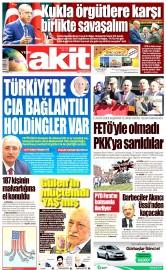 19 Ağustos 2016 Tarihli Yeni Akit Gazetesi