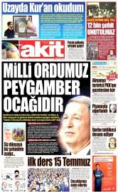 19 Eylül 2016 Tarihli Yeni Akit Gazetesi