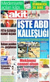 20 Ağustos 2016 Tarihli Yeni Akit Gazetesi
