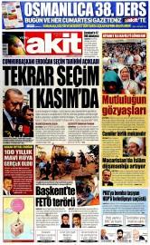 22 A�ustos 2015 Tarihli Yeni Akit Gazetesi
