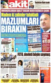 22 Ağustos 2016 Tarihli Yeni Akit Gazetesi