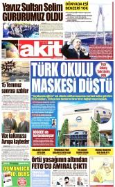 27 Ağustos 2016 Tarihli Yeni Akit Gazetesi