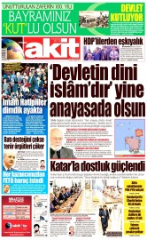 29 Nisan 2016 Tarihli Yeni Akit Gazetesi