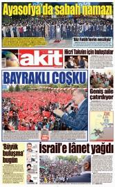 29 Mayıs 2016 Tarihli Yeni Akit Gazetesi