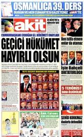 29 A�ustos 2015 Tarihli Yeni Akit Gazetesi