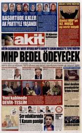 30 A�ustos 2015 Tarihli Yeni Akit Gazetesi