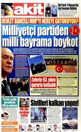 31 A�ustos 2015 Tarihli Yeni Akit Gazetesi
