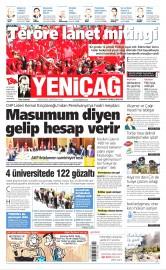 20 Ağustos 2016 Tarihli Yeniçağ Gazetesi