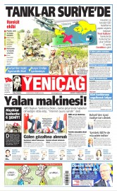 25 Ağustos 2016 Tarihli Yeniçağ Gazetesi