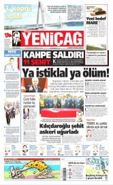27 Ağustos 2016 Tarihli Yeniçağ Gazetesi