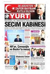 30 Ağustos 2014 Tarihli Yurt Gazetesi