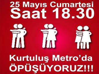 Ankara metrosunda öpüşme eylemi